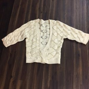 Anthropologie Moth Bolero knit cream sweater